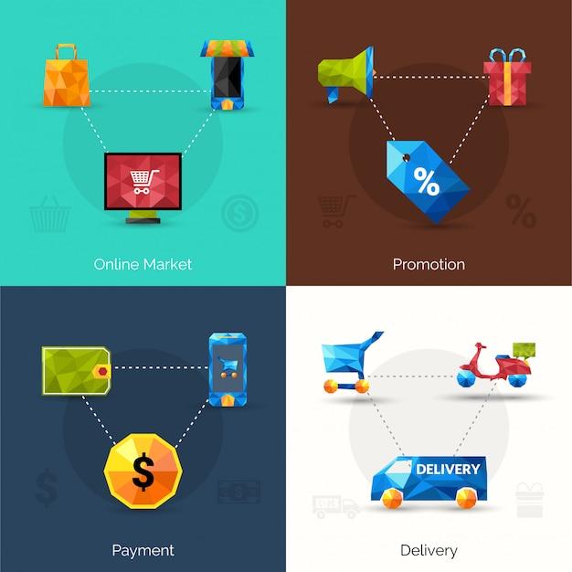 Электронная коммерция полигональные иконки