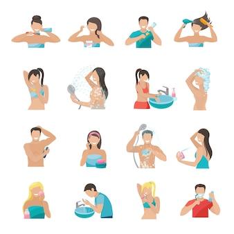 Плоский набор иконок гигиены с людьми, чистящими зубы, моющими лицо и принимающими душ