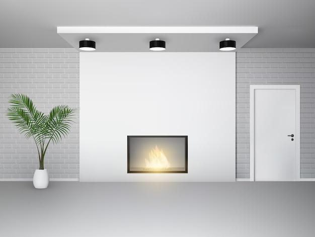 ヤシの木の白いドアとレンガの壁の暖炉インテリア