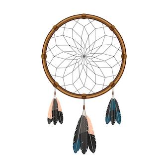 考えアイコンをフィルタリングするための神聖な羽を持つネイティブアメリカンインディアンの魔法のドリームキャッチャー