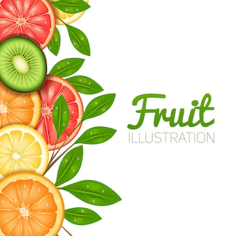Летний фруктовый постер с нарезанным лимонно-апельсиновым грейпфрутом и киви