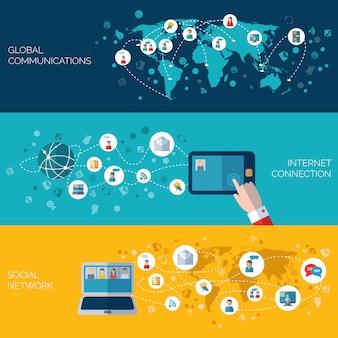 ソーシャルネットワークの水平方向のバナーセット
