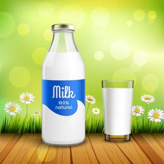 牛乳のボトルとグラス