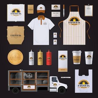 Коллекция шаблонов фирменных стилей для пиццерии с сумками-фартуками на черном фоне