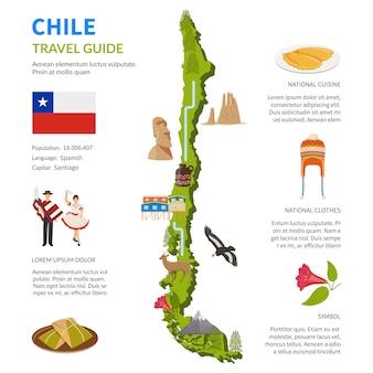地図とチリのインフォグラフィックレイアウト