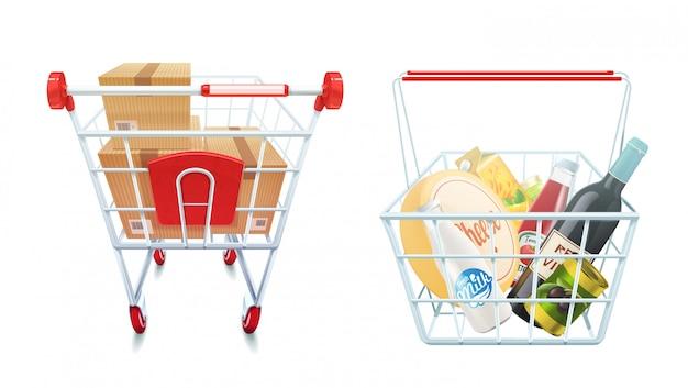 ショッピングカートとバスケットセット