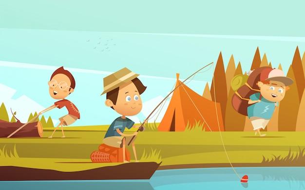 Отдых на природе детей фон с рыбацкой палаткой и рюкзаком мультфильм векторная иллюстрация