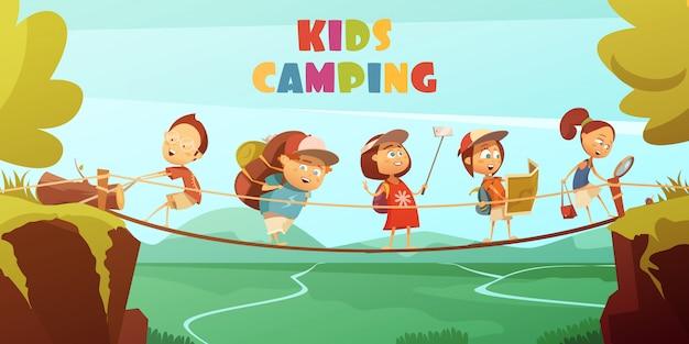 キャンプの子供たちと崖の谷と橋の漫画のベクトルの背景