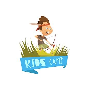 ハイキングやアーチェリーのシンボルと子供キャンプ漫画コンセプトベクトルイラスト