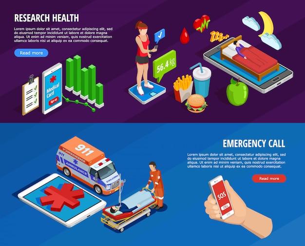 Цифровые медицинские изометрические горизонтальные баннеры