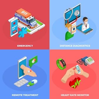 Цифровое здоровье изометрические концепция