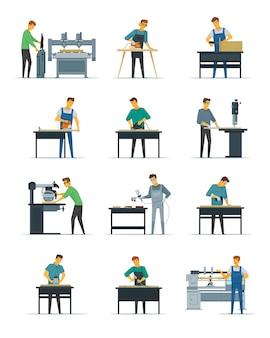 木工大工磨きとフラットアイコンのコレクションを描く