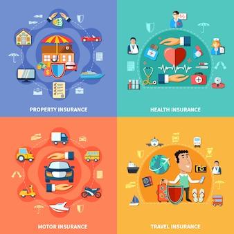 カラフルな保険フラットコンセプト
