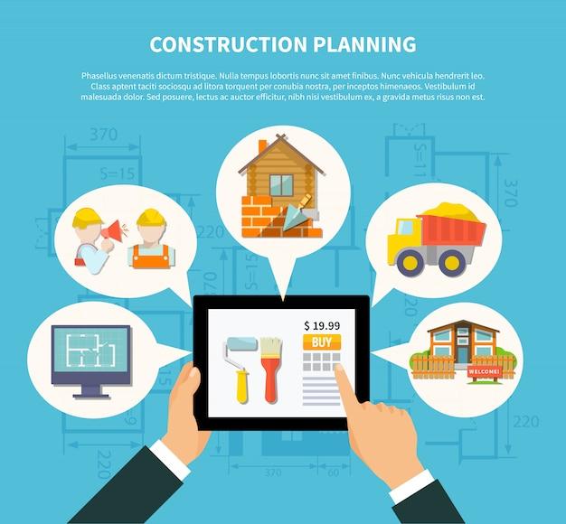 平らな建設計画図の概念