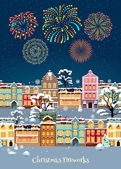 カラフルなクリスマスのお祝いテンプレート