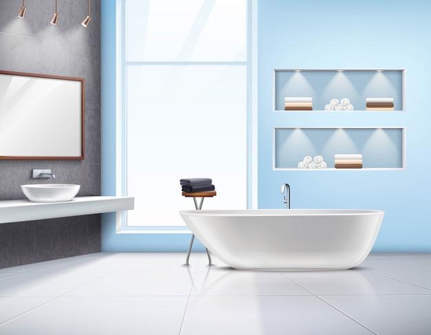Современный просторный солнечный интерьер ванной комнаты реалистичный дизайн с белыми аксессуарами для раковины и большой ванной