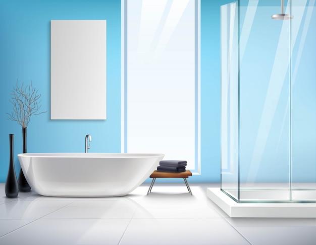 Реалистичный дизайн интерьера ванной комнаты