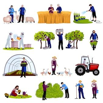 Фермеры и садоводы работают моменты сбора урожая фруктов, разведения крупного рогатого скота и обрезки растений плоские иконки