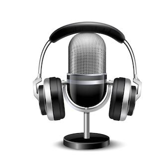 Микрофон и наушники ретро реалистичное изображение