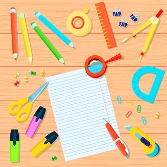 Канцелярские товары фон с карандашами, ленты, линейки, защелки, маркеры, транспортир, ручка, ножницы, компас