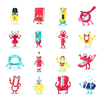Канцелярские товары забавная плоская коллекция с различными улыбающимися инструментами, аксессуарами и аксессуарами