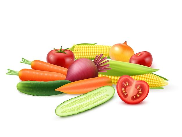 カラフルな新鮮野菜のテンプレート