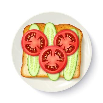 健康的な朝食の食欲をそそるトップビュー画像