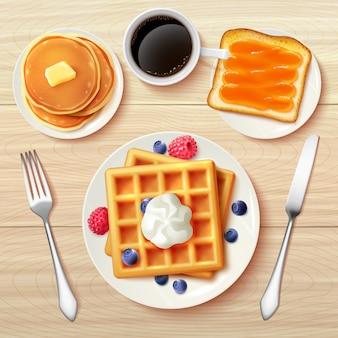 古典的な朝食トップビューリアルな画像