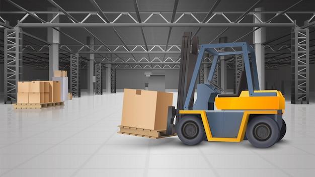 倉庫のインテリアと物流の背景