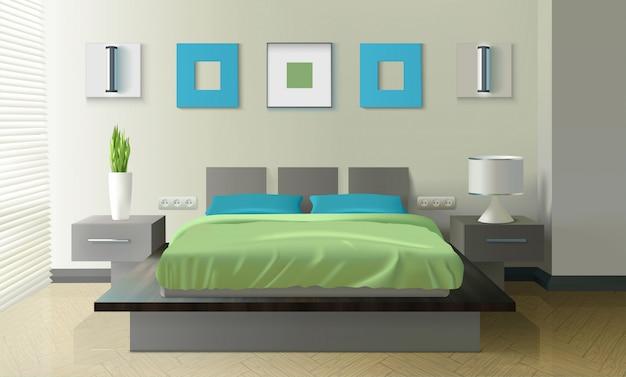 Современная спальня реалистичный дизайн