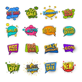 Значки продажи шуточные установили с иллюстрацией вектора символов скидки изолированной квартирой