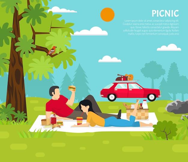 屋外のピクニックのベクトル図