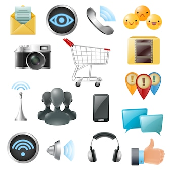 Социальные медиа символы аксессуары иконки коллекция