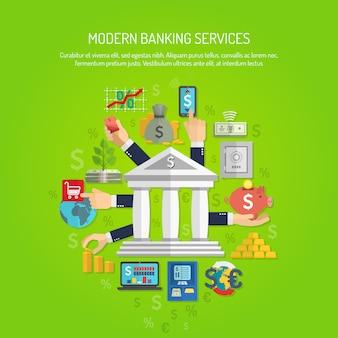 銀行コンセプトフラット