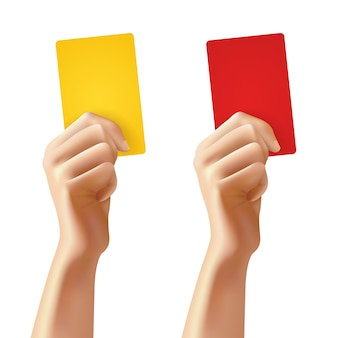 サッカーカードを持つ手