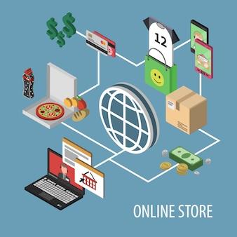 Изометрические шоппинг концепция