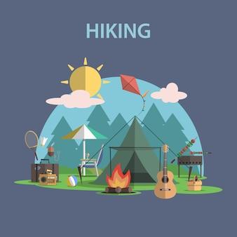 ハイキングコンセプトフラット