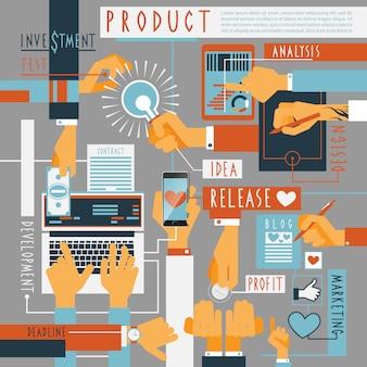 手のアイコン生産プロセスの概念