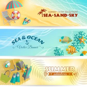 Морской пляж, летний отдых, приключения, горизонтальные баннеры с аксессуарами для плавания и дайвинга.