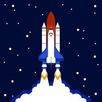 Запуск концепции космической ракеты фона