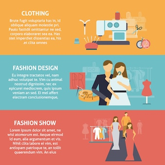 洋服デザイナーの水平方向のバナーセット