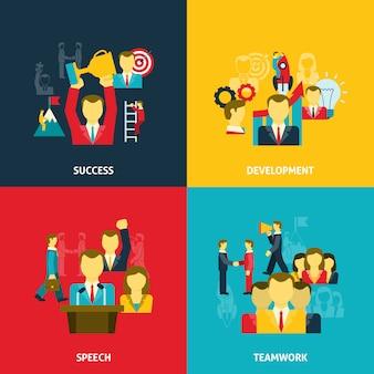 ビジネスのアイコンセットでのリーダーシップ