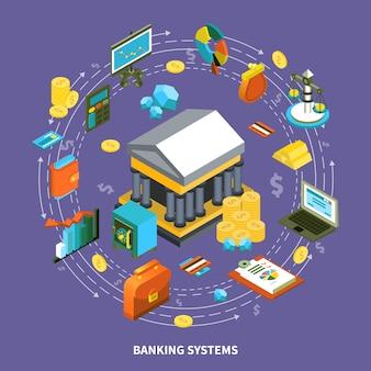 Банковские системы изометрические круглая композиция