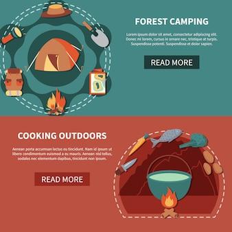 アウトドア料理のためのハイキング用品や食品