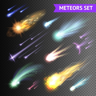 Коллекция световых эффектов с кометами метеоров и огненных шаров, изолированных на прозрачном фоне