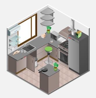 Интерьер кухни изометрические концепция