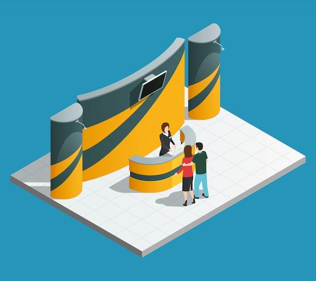 等尺性プロモーションデスクプロモーターと来場者との展示促進スタンド構成