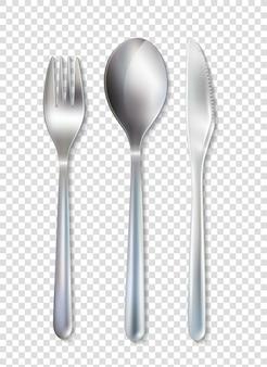 ステンレスカトラリー食器セット透明な背景