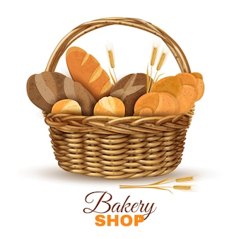 Пекарня корзина с хлебом реалистичное изображение