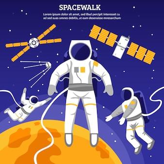 Иллюстрация плоских космонавтов